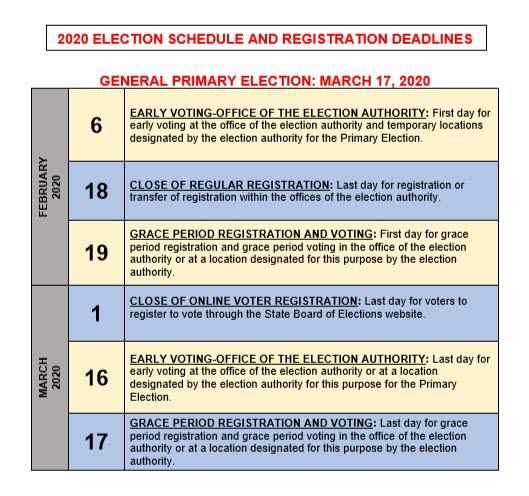 2020 Election Schedule and Registration Deadlines