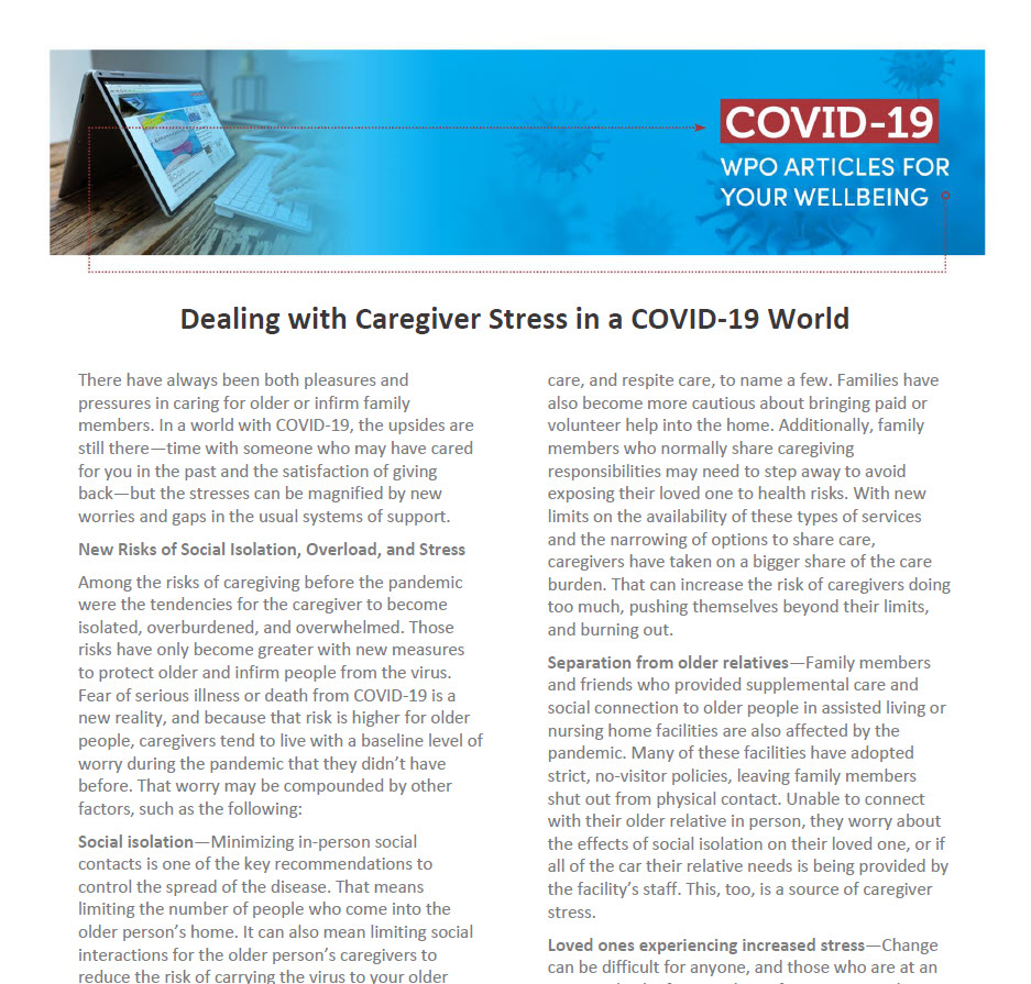 Dealing with Caregiver Stress in a COVID-19 World