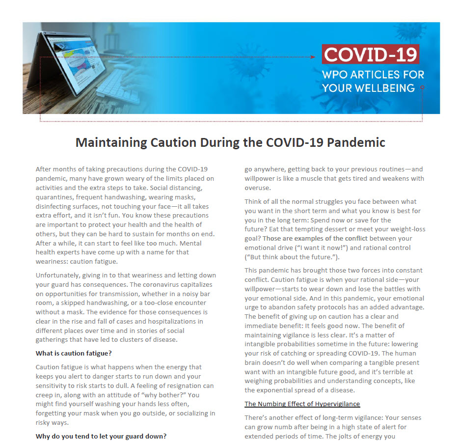 Maintaining Caution During the COVID-19 Pandemic